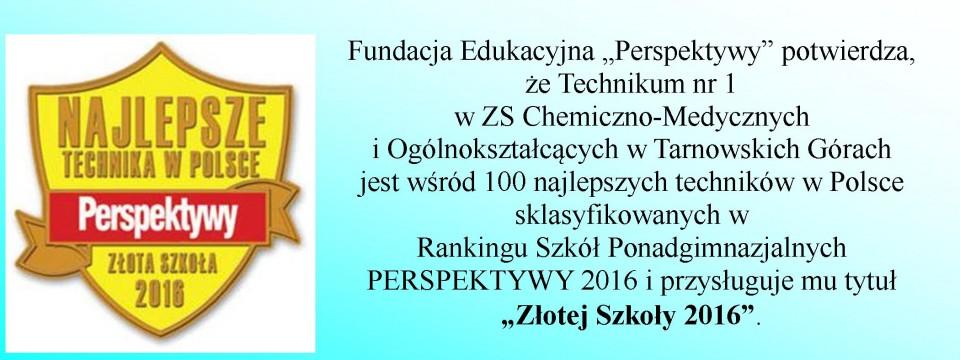 """Tytuł """"Złotej Szkoły 2016"""""""